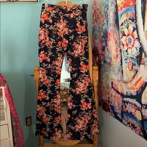 Floral print bell bottom pants